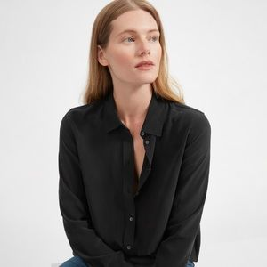 Everlane clean silk relaxed shirt, black, xs
